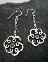 Sterling Silver Blue Topaz Long Dangly Flower Earrings