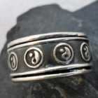 Sterling Silver Yin and Yang Spinner Fidget Ring
