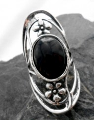 Sterling Silver Large Oval Onyx Flower Saddle Ring