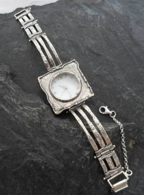 Textured Sterling Silver and Mother of Pearl Watch