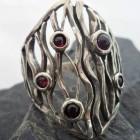 Sterling Silver Designer 5 Garnet Ring sz 9.5