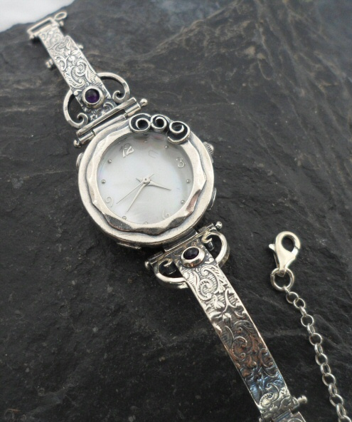 Sterling Silver Amethyst and Mother of Pearl Watch