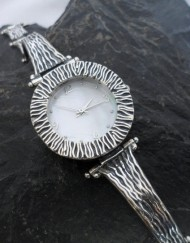 Sterling Silver Designer Watch with Mother of Pearl Face
