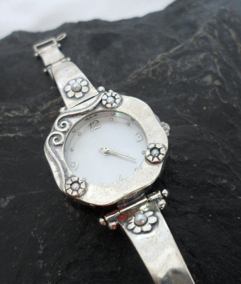 Sterling Silver Watch with Five Pearls and Mother of Pearl ~Signed by the Designer