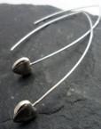 Sterling Silver Heart Earrings with Long Oval Earwire