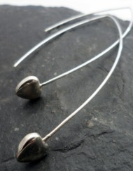 Sterling Silver Heart Earrings with Long Oval Earwire