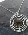 Large Sterling Silver Round Smoky Quartz Necklace