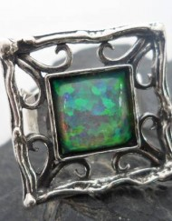 Large Sterling Silver Filigree Ring with Man Made Square Opal