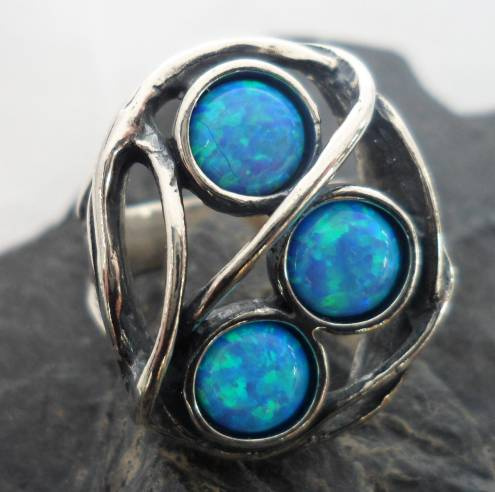 Hammered Sterling Silver Man Made Three Opals Ring