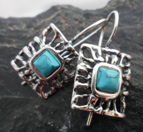 Sterling Silver Filigree Square Turquoise Gemstone Earrings