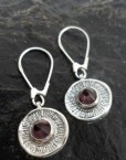 Sterling Silver Drop Earrings with Unique Purple Glass Pyramid Shape