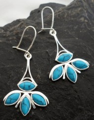 Sterling Silver Asian Look Long Drop Turquoise Earrings