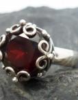 Sterling Silver Designer Garnet Crown Ring