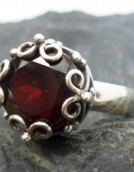 Sterling Silver Designer Garnet Crown Ring