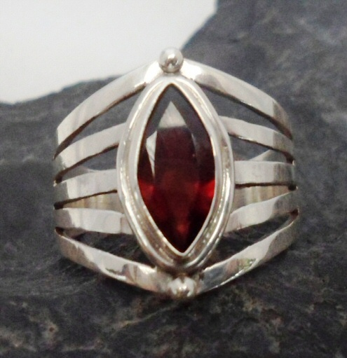 Sterling Silver Ring with Marquis Shaped Garnet Gemstone