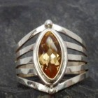 Sterling Silver Marquis Shape Citrine Ring