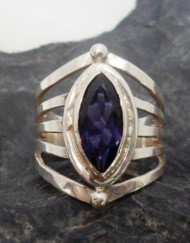Sterling Silver Marquis Shaped Iolite Ring sz 6