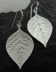 Brushed Sterling Silver Leaf Earrings