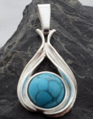 Sterling Silver Turquoise Tear-Drop Pendant