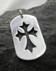 Sterling Silver Medieval Cross Dog Tag Pendant