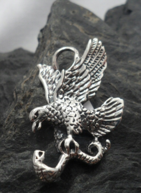 Sterling Silver Eagle Clutching Serpent Pendant