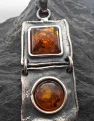 Large Designer Amber Sterling Silver Art Nouveau Style Pendant