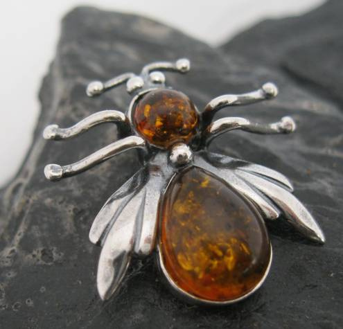 Sterling Silver Amber Honey Bee Pendant