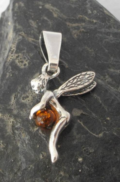 Sterling Silver and Baltic Amber Tinkerbell Fairy Pendant