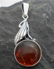 Sterling Silver Amber Leaf Pendant