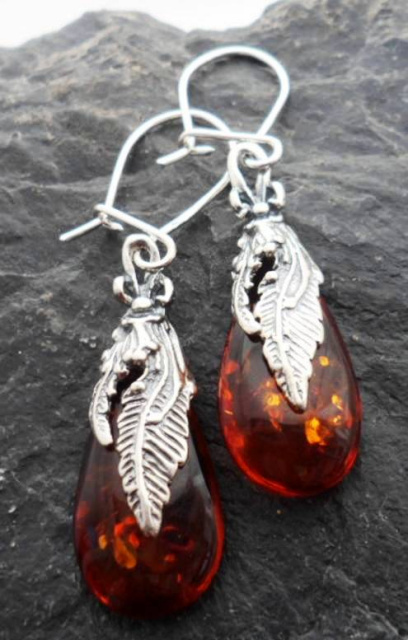 Sterling Silver Baltic Amber Feather Earrings