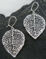 Large Sterling Silver Filigree Aspen Leaf Earrings