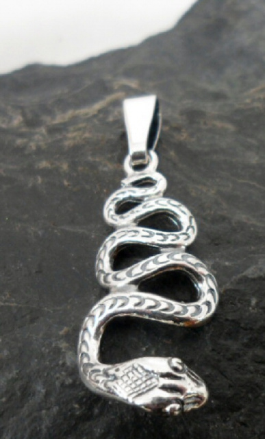 Sterling Silver Engraved Snake Pendant