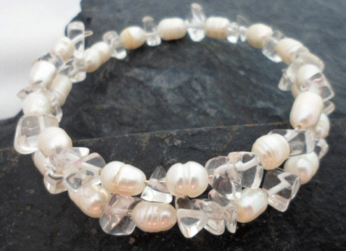 Wrap Around White Freshwater Pearl and Crystal Quartz Bracelet