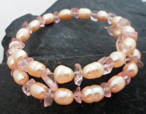 Pink Freshwater Pearl with Pink Ice Quartz Wrap Bracelet