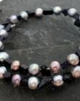 Black Freshwater Pearl and Blue Goldstone Chip Wrap Bracelet