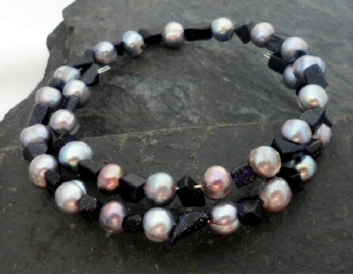 Black Freshwater Pearl and Blue Goldstone Chip Wrap Bracelet