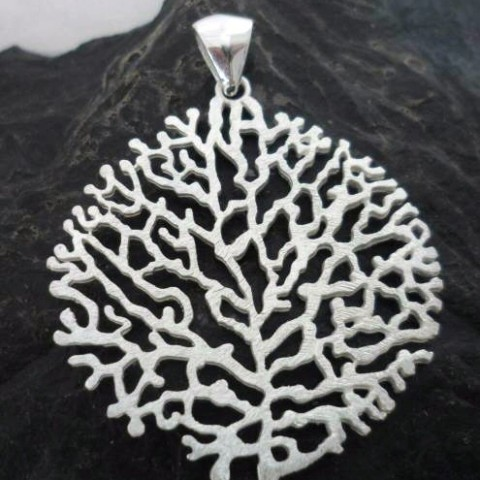 Large Brushed Sterling Silver Coral Pendant