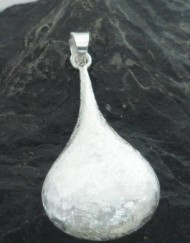 Sterling Silver Textured Puffy Tear-Drop Pendant