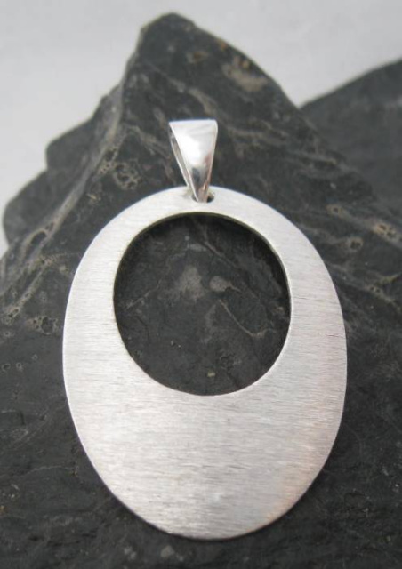 Large Matt Finish Sterling Silver Open Oval Pendant