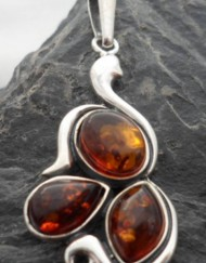 Beautiful Baltic Amber Sterling Silver Art Nouveau Style Pendant