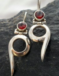 Sterling Silver Red Garnet Drop Earrings