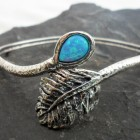 Sterling Silver Southwestern Style Opal and Feather Bangle Bracelet