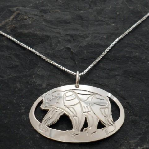 Sterling Silver Native Bear Necklace