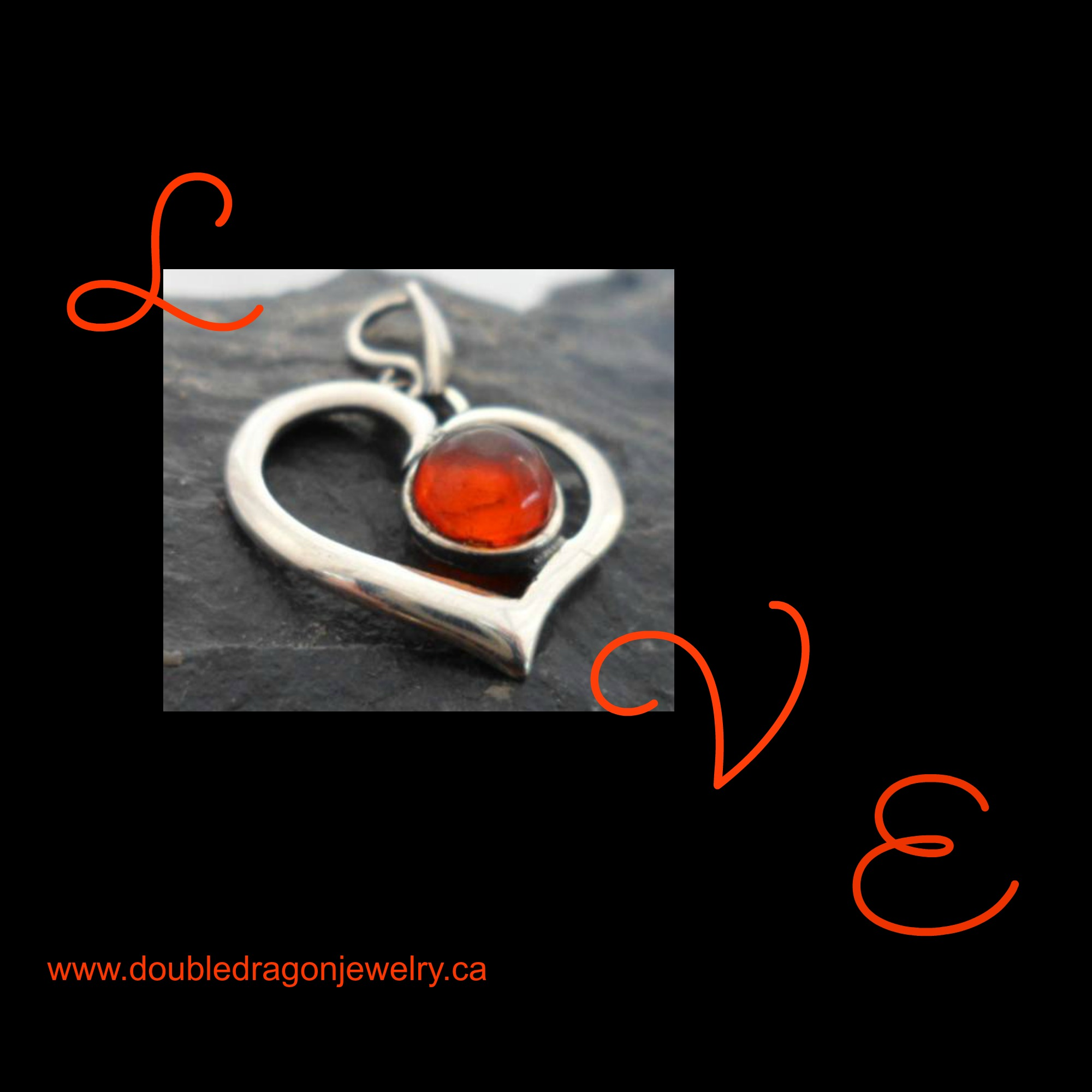 Sterling Silver Heart Pendant with Round Baltic Amber Cabochon