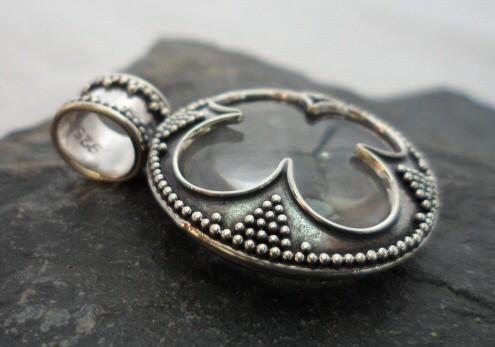 Sterling Silver 4 Leaf Clover Crystal Pendant