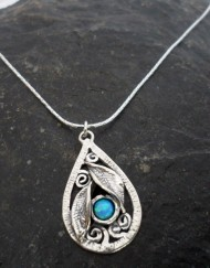Sterling Silver Tear-drop Opal Leaf Necklace