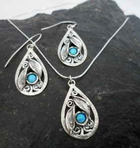 Sterling Silver Tear-drop Opal Leaf Earrings and Necklace Set