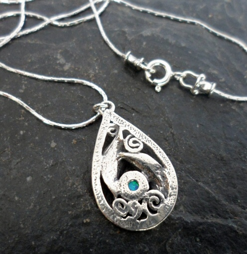 Sterling Silver Tear-drop Opal Leaf Necklace