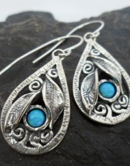 Sterling Silver Tear-drop Opal Leaf Earrings