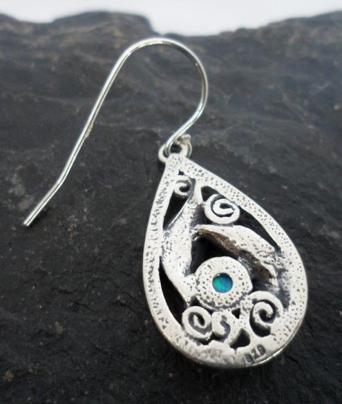 Sterling Silver Tear-drop Opal Leaf Earrings